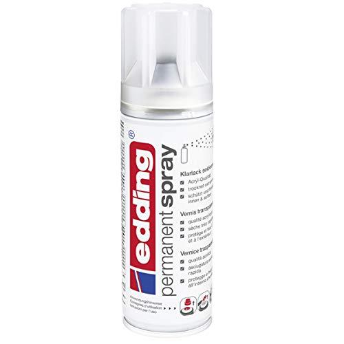 edding 5200 Permanent Spray Klarlack – seidenmatt – Klarlack in Acrylqualität für ein seidenmattes Finish – Erhöht die Kratz-, Stoß- und Schlagkräftigkeit der Lackierung – Inhalt: 200 ml