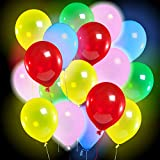 LED Light Up Balloons by Bright Holiday - Equipped On/Off Button - 3 Flashing Modes - Glow in the Dark 30 Pack LED Balloons - Lights Lasts 12-24 Hours - Perfect Decorations for Party - Fillable with Helium or Air