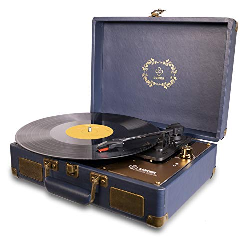 Record Player, LUKER Portable Suitcase Bluetooth Turntable for Vinyl Record, Belt-Drive 3-Speed Stereo Turntable with Speakers, Support Power Bank Supply, 3.5mm Headphone RCA Audio Output