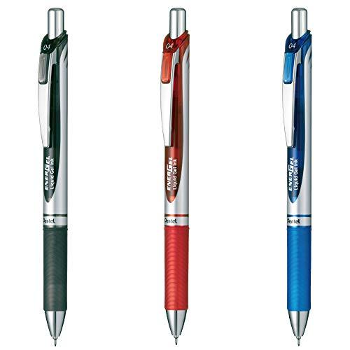 ぺんてる ゲルインキボールペン エナージェル0.4 3色セット AMZ-BLN74-3