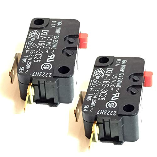 (Pack of 2) Frigidaire Microwave Micro Door Relay Switch 5304440026 and FMV156DCC