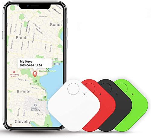 4 Piezas Buscador de Llaves, Kimfly Buscador de artículos Smart Tracker Bluetooth Teléfono Tracker Smart Tag para Llaves, Mascotas Cartera teléfono Celular con Android y iOS