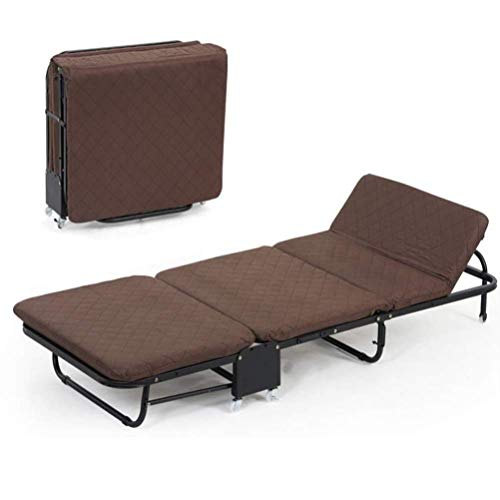 YXB Recliner, Folding Rollaway Guest Bed Comfortable Free Adjustment 5-Height Rolling Cot with Memory Foam Mattress Easy Storage Space Saving for Adults Guest Beds