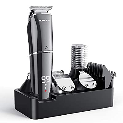Hair Clipper Set, homeasy Electric Hair Trimmer Razor Rechargeable Professional Mens Grooming Kit Hair Cutting Machine with LED Display Hair Shaver Beard Trimmer for Men Kids Barbers