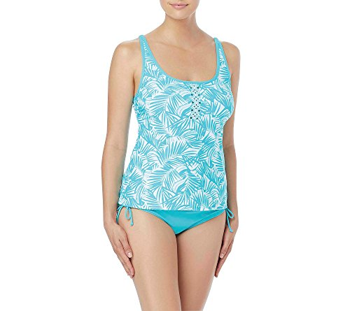 Beach House Women's Tankini Top Swimsuit with Removable Soft Cups, Cape Palm Caribe Aqua, 10