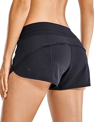 CRZ YOGA Pantalón Corto para Mujer Shorts con Bolsillo Cremallera -6cm