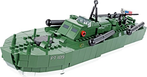 COBI- Barco Motor Torpedo Boat PT-109, Color Verde, Gris y N