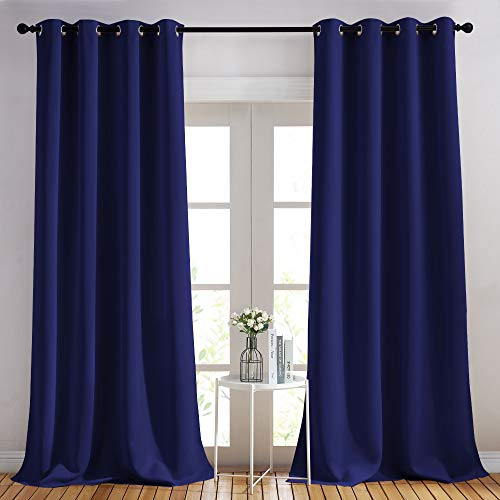 NICETOWN Blackout Curtains and Drapes for Kitchen - Extra Long Room Darkening Thermal Insulated Solid Window Blackout Draperies (Dark Blue, 1 Pair, 52 x 95-Inch)