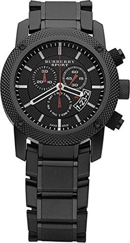 PROMOCIÓN! Auténtico Suizo Burberry Deporte Reloj Cronógrafo Hombres Negro Acero Inoxidable Esfera Negra Fecha BU7703