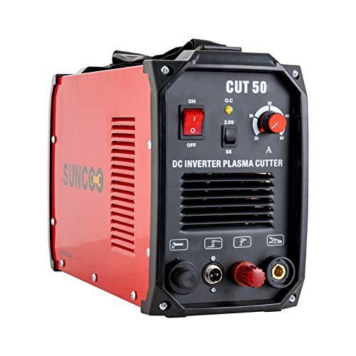 Non-Touch Pilot Arc Plasma Cutter 50 Amp DC Inverter Metal Cutting Machine, Automatic Dual Voltage 110/220V Red