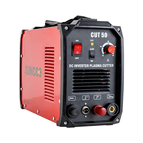Non-Touch Pilot Arc Plasma Cutter 50 Amp DC Inverter Metal Cutting Machine, Automatic Dual Voltage 110/220V Red