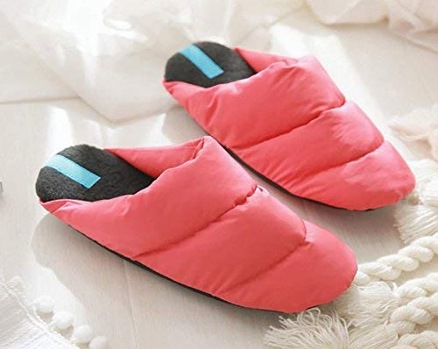 JaHGDU Ladies Casual Wool Slippers Warm Down in Autumn and Winter Wool Slippers Red Pink Beige Slippers for Women