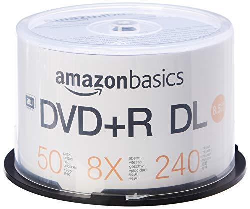 Amazon Basics – DVD+R-DL-Rohlinge, 8,5 GB, 8x, Spindel mit 50 Stück