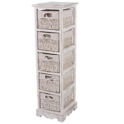 Mendler Regal Kommode mit 5 Korbschubladen 90x25x28cm, Shabby-Look, Vintage ~ weiß