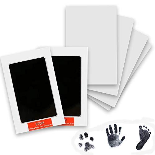 2 Piezas Almohadilla de Tinta para Bebé, Kit de Impresión de Pie o Mano para Bebé, con 4 Tarjetas Impresas, Sello Táctil Limpio, Adecuado para Bebés de 0 a 6 Meses (Negro)