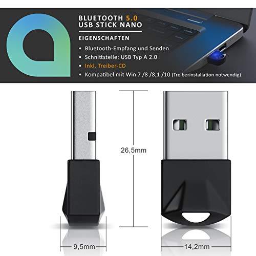 CSL - USB Bluetooth 5.0 Adapter Mini - BT V5.0 Stick Dongle - für PC Laptop - Bluetooth Empfänger und Sender für Desktop Laptop Drucker Headset Lautsprecher - kompatibel mit Windows 8.1 10