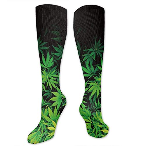 Ahdyr Calcetines unisex de longitud media, hojas de hierba verde Calcetines hasta la rodilla Calcetines tobilleros Calcetines de tubo de equipo