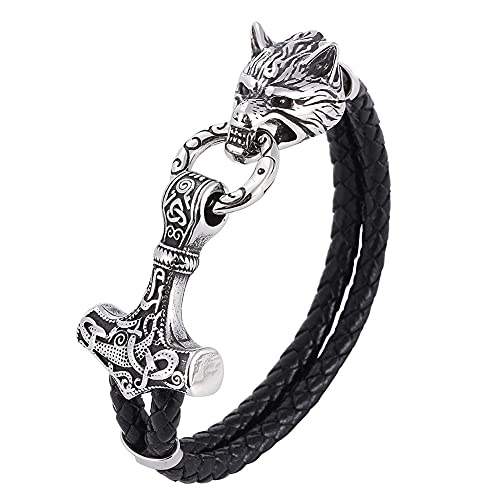 Hombres Viking Thor's Hammer Mjolnir Wolf Cabeza Cuero Pulsera, Mitología Nórdica Acero Inoxidable Fenrir Nudo Celta Amuleto, Brazalete de Cuerda Trenzada Negra de Doble Capa (Size : 19CM)
