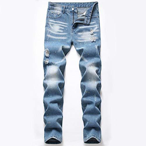 ShFhhwrl Vaqueros de Moda clásica Primavera Agujero Blue Jeans Hombres Ripped Skinny Biker Destroyed Denim Pantalones