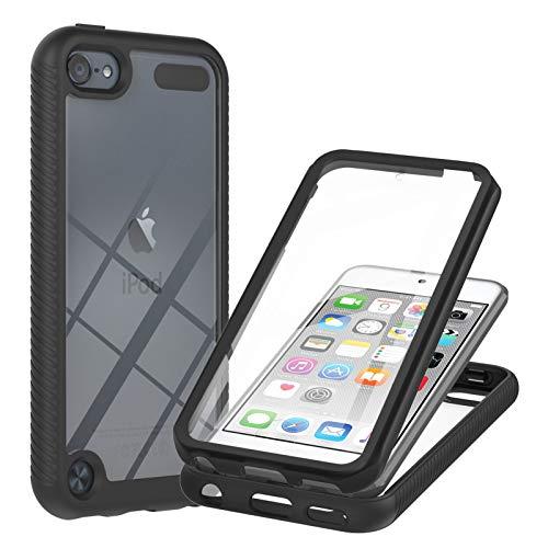 Eabhulie Funda para iPod Touch 5th / 6th / 7th, 360 Grados Transparente Atrás TPU Bumper Antideslizante Antigolpes con Protector de Pantalla Integrado Carcasa para iPod Touch 5 /Touch 6 /Touch 7 Negro