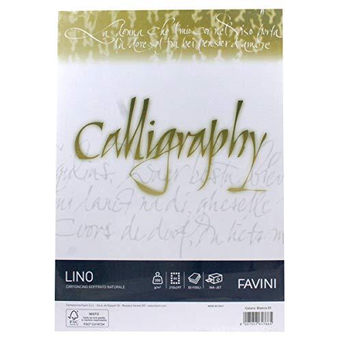 Carta Favini Calligraphy Lino 50 fogli A4 200Gr 01 bianco [A690614]
