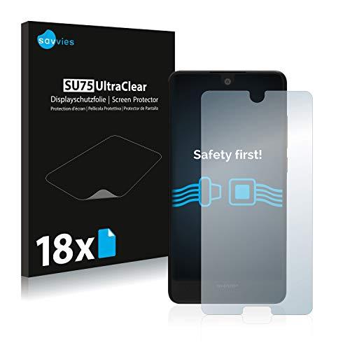 Savvies 18x Schutzfolie kompatibel mit Sharp Aquos C10 Bildschirmschutz-Folie Ultra-transparent