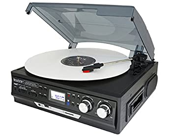 Boytone BT-17DJB-C 6-in 1 Turntable 3-Speed Stereo 2 Built in Speakers Digital LCD Display AM/FM Radio + Supports USB/SD/AUX+ MP3 Cassette & WMA Playback /Recorder & Headphone Jack + Remote