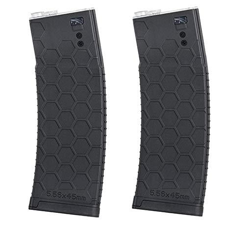WG ZWEIERPACK - Polymer MID-Cap Magazin Xtra Long für M4 / AR-15, schwarz - Vorteilspack/Zweierpack… (Schwarz) - Airsoft Softair