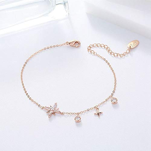 HJPAM Eenvoudige temperament ster bedelarmband rose goud kleur zirkoon armband dames partij mode-sieraden
