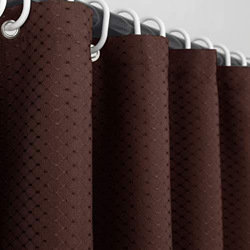 Ebecede Duschvorhang, Stoff, für Badezimmer, Stall & Badewanne, Waffelgewebe, waschbar, 137,2 x 198,1 cm, Schokoladenbraun