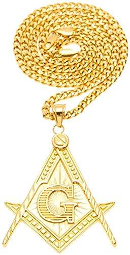 WYDSFWL Collar Colgante masónico masónico de Acero de Color Dorado con 27 5 Cadena Larga Cubana Collar de Hip Hop Brújula Unisex G Collar de joyería de Creyente