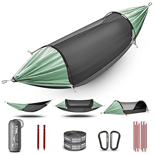 ETROL Hamac, Mise à Niveau Hamac de Camping Avec Moustiquaire, 3 dans 1 Conception de Fonction Aluminium Portable Hamac Tent pour Arrière-cour, Voyage, Randonnée, Plage et Autres Activités Extérieures