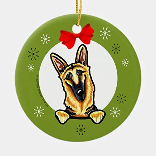 Black Tan German Shepherd Christmas Classic Ornament Personalized 3 Ihch Ceramic Ornament Christmas Tree Decration