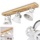 Lámpara de techo Svanfolk de metal y madera, 3 focos, con focos ajustables, 3 casquillos E14, máx. 40 W, diseño retro y Vinatge