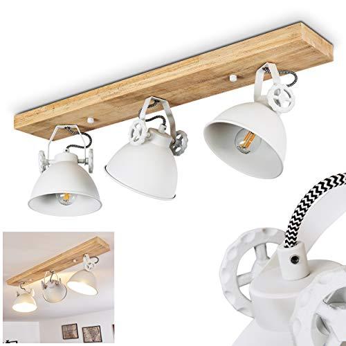 Deckenleuchte Svanfolk, Deckenlampe aus Metall/Holz in Weiß/Natur, 3-flammig, mit verstellbaren Strahlern, 3 x E14-Fassung, max. 40 Watt, Retro/Vinatge Design