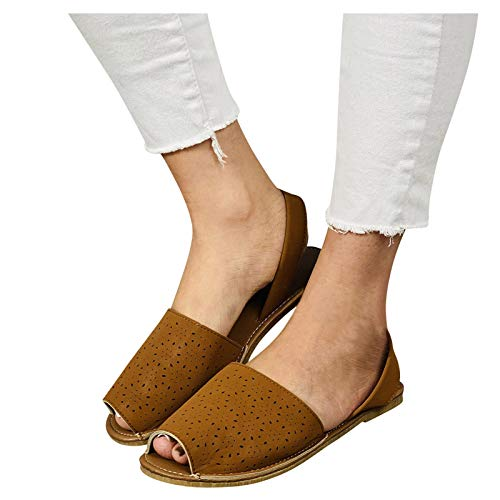 ZYAPCNGN Sandals for Women Fashion Women's Casual Shoes Breathable Flat Outdoor Leisure Sandals Wedge Sandals Brown