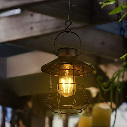 ランタン ソーラー ガーデンライト 庭園灯 アンティーク 防水 電球型 LED 自動点滅 ペンダントライト おし...