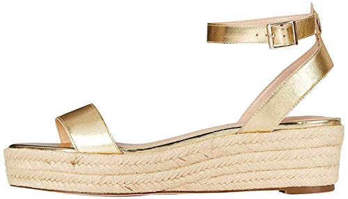 Amazon-Marke: FIND Two Part Suede Espadrilles, Gold (Metallic Gold), 39 EU