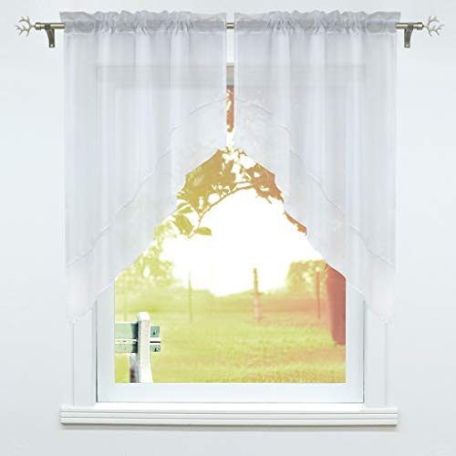 SCHOAL Window curtain with drawstring, 2 pieces, small window curtains, kitchen set, bistro curtains, voile stores, window curtain, modern white, W x H 120 x 125 cm
