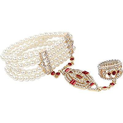 Metme 1920s Gatsby Accessories Imitation Pearls Rhinestone Bracelet Adjustable Ring Set