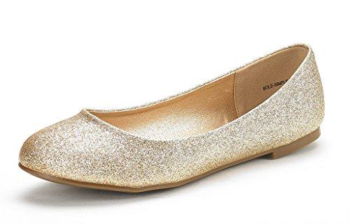 DREAM PAIRS Women's Sole-Simple Gold Glitter Ballerina Walking Flats Shoes - 8 M US