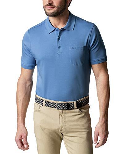 Walbusch Herren Premium Supima Polo einfarbig Mittelblau 62-64