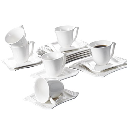 MALACASA, Serie Amparo, 18 teilig Set Porzellan Kaffeeservice Dessertteller Kaffeetasse mit Untertasse für 6 Personen