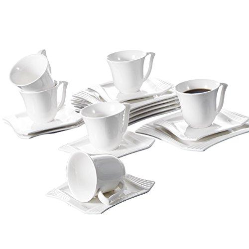 MALACASA, Series Amparo,18 Piezas Vajillas de Porcelana Juego de Café Juego de...