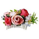 手作りの結婚式ブライダルヘッドバンドかぶと人工花髪飾り - オレンジレッド_8×13×3cm