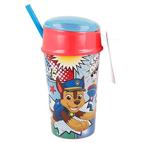 Vaso infantil con pajita reutilizable, taza + tapa, pequeño compartimento para alimentos, sin BPA (Patrulla Canina)