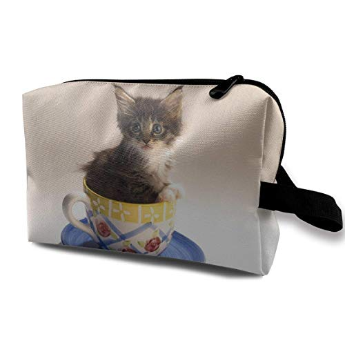 Creative Kitten in The Cup Travel Bag Storage Bag