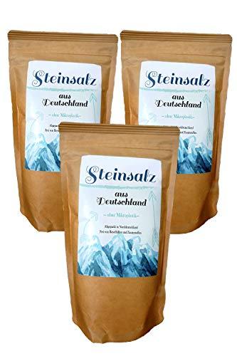 Kräuterladen Deutsches Steinsalz Naturbelassenes Salz, Ursalz, fein gemahlen, 3 x 1000 g ohne Zusätze