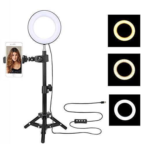 ZOMEi Anillo de luz LED Celular Regulable 6 Pulgadas Maquillaje Ligero con trípode de rótula y Soporte para teléfono Celular 6W 3000-6000K para Youtube Video Live Streaming Light, Beauty Manicure