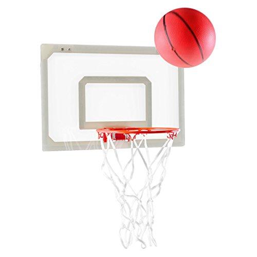 Nexos Mini-Basketballkorb für Tür & Wand Innenbereich Basketballboard Mini Hoop Zimmer Basketballset inkl. Ball Pumpe 45x30,5x0,5cm